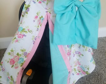 Carseat Canopy Floral Aqua girl infant carseat cover