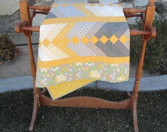 Patchwork Throw Quilt**Bright**Spring**Yellow and Gray**Toddler Quilt**Baby Quilt