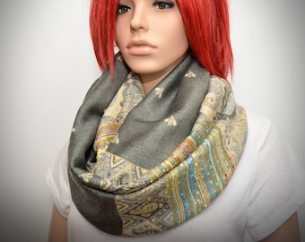 Gray paisley floral scarf - Infinity scarf