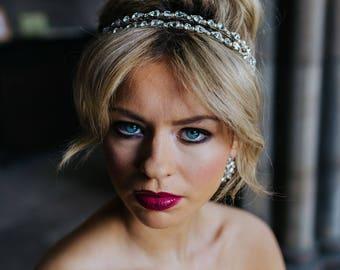 """Bridal Headband, """"Charlotte"""" Double Headband, Crystal and Pearl Headband, Bridal Headpiece, Wedding Headband, Wedding Headpiece, Tiara"""