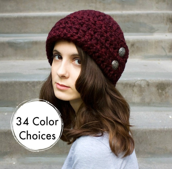 Red Crochet Hat Women Hat 1920s Flapper Hat - Garbo Cloche Hat in Claret Red Wine Crochet Hat - Warm Winter Hat - 34 Color Choices