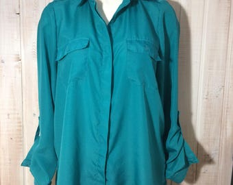 Vintage, Alfred Sung, shirt, blouse, turquoise blouse
