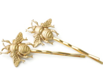 The Original Golden Bumble Bee Bobby Pin Pair as seen on Pintrest, Tumblr, Facebook