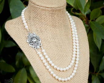 Double Strand Pearl Asymmetrical Vintage Necklace | Bridal Necklace | Cultured Pearls