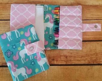 Unicorn crayon wallet, crayon holder, Girls gift, crayon organizer, kids gift, Stocking stuffer, birthday gift, on the go activities