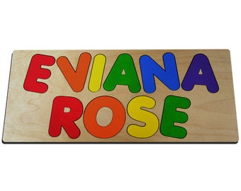Funky Fonts Personalized Wooden Name Puzzles 2 Names Child's Name, Custom Made Puzzle From Wood, Two Word id247503038
