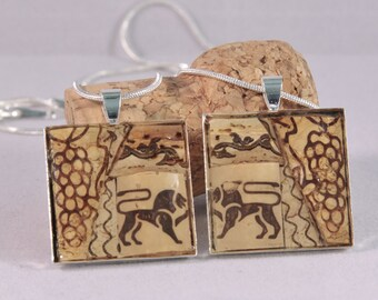 Recycled wine cork mosaic BFF necklace set V