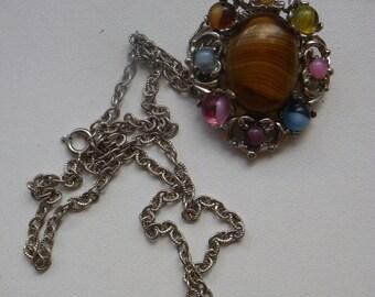 vintage glass beats brooch / pendant