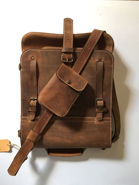 "15 ""Convertible  Lucky Upgraded Banduliera , Biker's Bag, 4-way-to-wear Laptop Leather Handmade bag, Messenger to Banduliera"