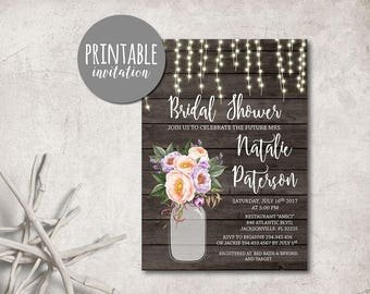 Printable Bridal Shower Invitation, Rustic Bridal Shower Invitation Mason Jar Floral Bridal Shower Invitation Lilac Pink Bridal Invitation