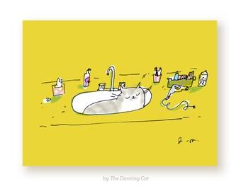 Funny Cat Card - Cat in Sink - Cat Mom Card