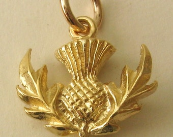 Genuine SOLID 9K 9ct YELLOW GOLD 3D Scottish Thistle charm/pendant