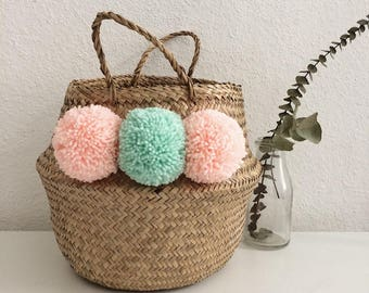 Thai basket with roses and mint tassels