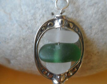Stacked Sea Glass in Sterling Silver Frame Pendant & Necklace