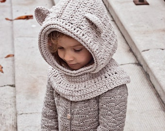 Crochet hat PATTERN - Polar Bear Hooded Cowl (baby to adult)