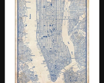 1944 new york city manhattan street map vintage blueprint new york city map 1944 new york city manhattan street map vintage blueprint grunge malvernweather Image collections