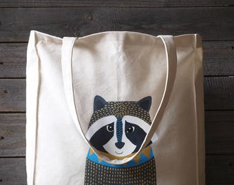 hand painted raccoon bag, raccoon gifts, woodland tote bag