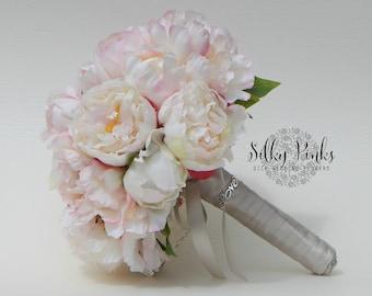 Brides Bouquet - Peony Bouquet - Pink Wedding Bouquet - Wedding Flowers - Bridesmaids Bouquet - Bridesmaid Flowers, Silk Wedding Flowers