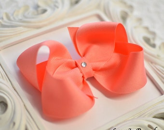 Coral Boutique Hair Bow, Choose your size, small, medium, large, extra large