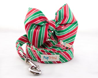 CLEARANCE! XMAS Dog Leash//Christmas Dog Bow Tie//Christmas Designer Dog Lead//Christmas Dog Leash//Christmas Dog Bowtie//Bow Tie Dog