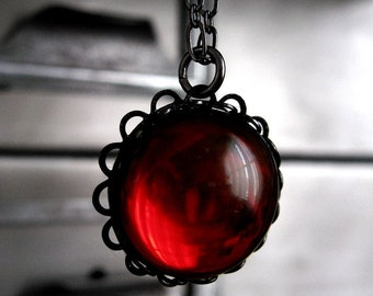 Blood Red Necklace, Vintage Red Swarovski Crystal Pendant, Vintage Cabochon, Black Gunmetal Chain, Goth Gothic Jewelry, Valentines Day Gift