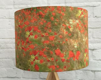 Lampshade Monet Poppies, handmade fabric ceiling/table, 30cm or 20cm, green background, ideal gift for nature country art lover