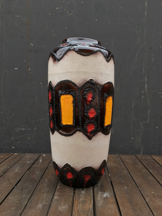Vintage 1960's-70's Large Scheurich Keramik Floor Vase 517-45 West German Pottery FAT LAVA