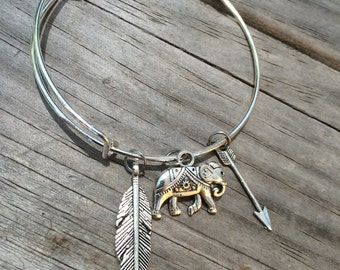Elephant bracelet, Feather Bracelet, Arrow Bracelet, Charm Bangle, Charm bracelet