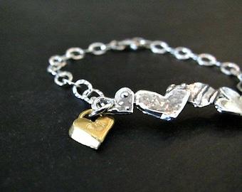 Valentine's Day Jewelry   Heart Bracelet   Sterling Silver Jewelry   Artisan Link Bracelet   Boho Bracelet   Fine Sterling Bracelet