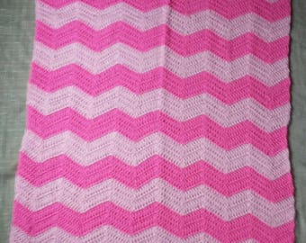 Pink Chevron Baby Blanket, Throw, Stroller, Crib