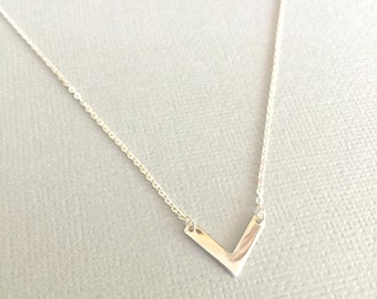 Dainty Chevron Necklace, V Necklace, Simple Chevron Necklace, Sterling Silver Chevron Necklace, Geometric Necklace, Layering Necklace