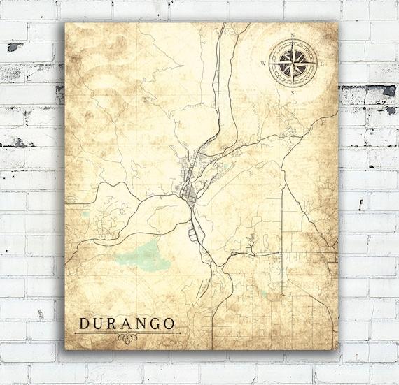 DURANGO CO Colorado Vintage map Durango Vintage City Wall Art