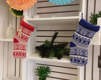 Christmas Stocking | Knitted Stocking | Christmas Tags | Custom Tags | Traditional | Personalized | Stocking | Snowflakes | Reindeer Tags