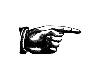 Large Pointing finger Hand Rubber Stamp
