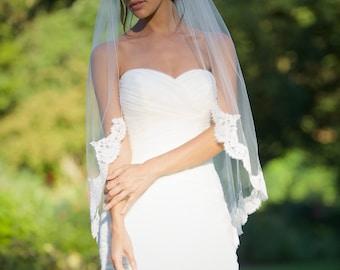 Alencon Lace Veil, fingertip veil, re-embroidered lace veil, lace bridal veil, ivory lace veil, Floral alencon lace veil, bridal accessories