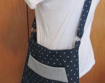 Blue Denim & Hearts Shoulder Bag