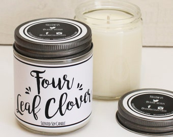 Four Leaf Clover Scented Candle - 8 oz Candle | St. Patrick's Day Gift | Soy Candle | Candle Handmade | Personalized Candle | Good Luck Gift