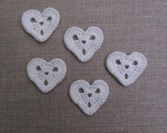 set of 5 hearts openwork crochet height 2.5 cm