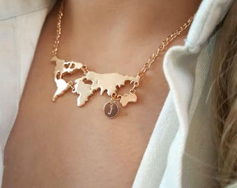 World map necklace etsy delicate world map necklaceworld necklacescity necklaceinitial coin necklaceslayering gumiabroncs Choice Image