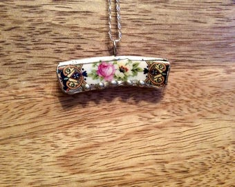 Broken China Necklace/Pendant, Black, Rose, White, Silver, Recycled China,