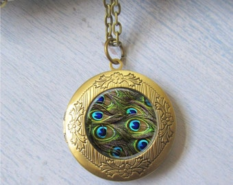 Peacock Necklace, Photo Locket, Antique Gold Locket, Art Jewelry
