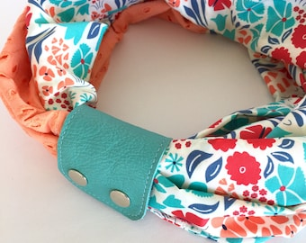 Infinity Scarf & Cuff: Turquoise/coral pink floral with coral lace and turquoise leather scarf cuff