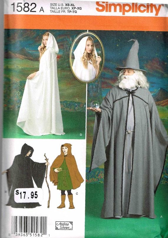 Simplicity 1582 Medieval Hooded Cloak Merlin Gandalf lotr