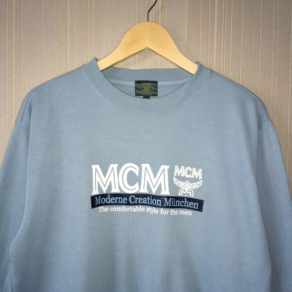 Rare !! MCM Legere Sweatshirt Biglogo Embroidery Pullover Jumper Blue Colour large Size AQ0JD1nc7