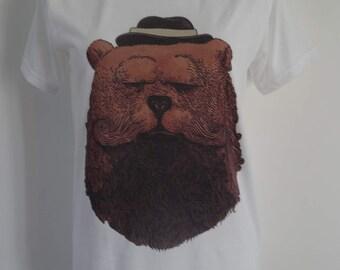 Women's Bearded Gentleman Bear T-Shirt - UK 12 14 16 - Tattoo Beard Alternative