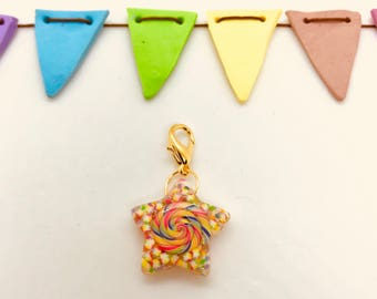 Star with Rainbow Sprinkles Charm