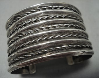 Early 1900's Vintage Naqvajo '11 Story' Silver Wide Bracelet