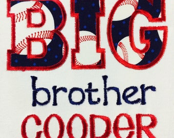 Personalized Big or Lil Brother, Sister Baseball Embroidered and Applique Shirt