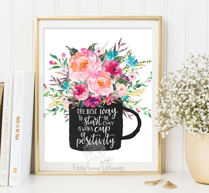 Nursery Ideas And Décor To Inspire You: Motivational Poster Inspirational Print Teen Room Decor Floral
