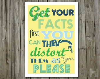 Mark Twain quote - 13x19 print - Humorous Poster -Typography - Green - Blue - Yellow